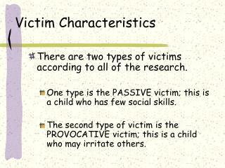 Victim Characteristics