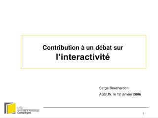 Contribution   un d bat sur l interactivit