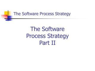 The Software Process Strategy
