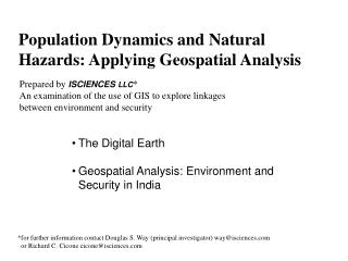 Population Dynamics and Natural  Hazards: Applying Geospatial Analysis