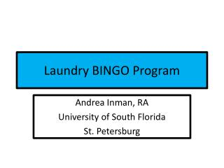 Laundry BINGO Program