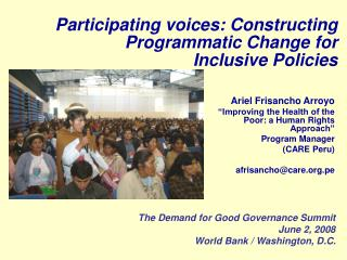Participating voices: Constructing Programmatic Change for  Inclusive Policies