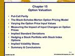 Chapter 15 Option Valuation