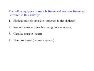 The following types of muscle tissue and nervous tissue are       covered in this activity: 1. Skeletal muscle muscles a