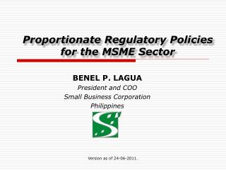 Proportionate Regulatory Policies for the MSME Sector