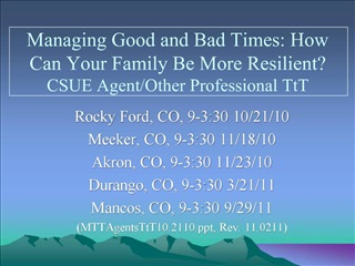 Managing Good and Bad Times: How Can Your Family Be More Resilient CSUE Agent