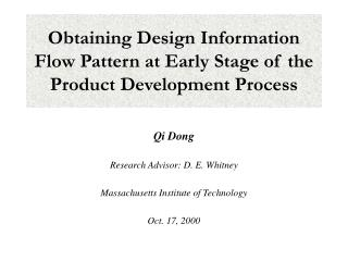 Obtaining Design Information Flow Pattern at Early Stage of the Product Development Process