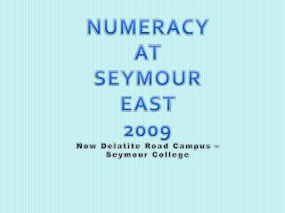 NUMERACY AT SEYMOUR EAST 2009 Now Delatite Road Campus   Seymour College