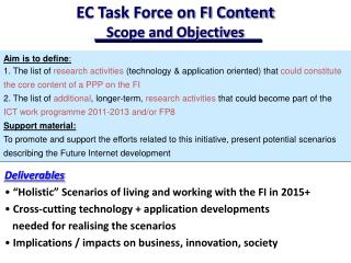 EC Task Force on FI Content  Scope and Objectives