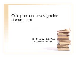 Gu a para una investigaci n documental