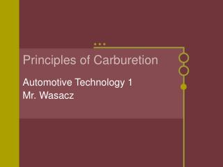 Principles of Carburetion