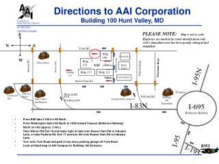 Directions to AAI Corporation Building 100 Hunt Valley, MD