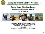 Managers  Internal Control Program  Senior Level Steering Group Senior Assessment Team SLSG