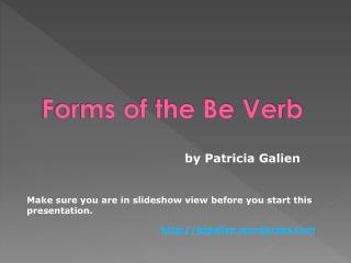 Forms of the Be Verb