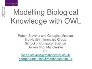 Modelling Biological Knowledge with OWL