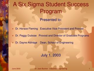 A Six Sigma Student Success Program