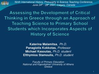 Assessing the Development of Critical Thinking in Greece through an Approach of Teaching Science to Primary School Stude