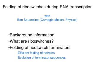 Folding of riboswitches during RNA transcription