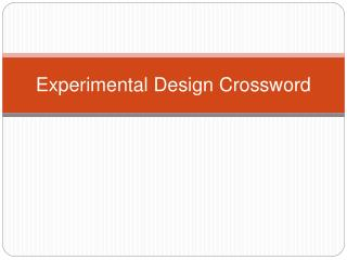 Experimental Design Crossword