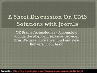 A Short Discussion On CMS Solutions with Joomla