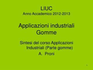 LIUC Anno Accademico 2012-2013  Applicazioni industriali Gomme