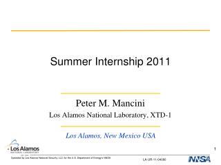 Summer Internship 2011