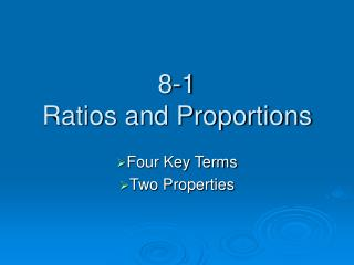 8-1 Ratios and Proportions