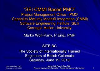 SEI CMMI Based PMO  Project Management Office - PMO  Capability Maturity Model  Integration CMMI Software Engineering I