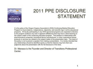 2011 PPE Disclosure Statement               2011 PPE DISCLOSURE STATEMENT