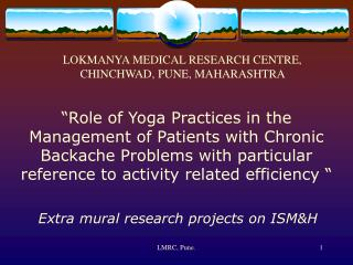 Extra mural research projects on ISMH
