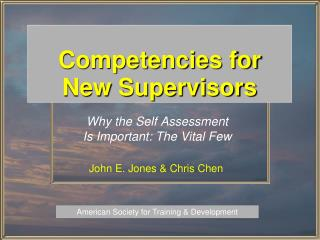 Competencies for New Supervisors