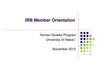 IRB Member Orientation
