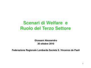 Scenari di Welfare  e Ruolo del Terzo Settore