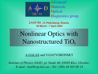 Advanced Materials Optical Diagnostics group