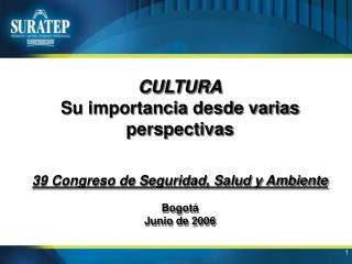 CULTURA Su importancia desde varias perspectivas   39 Congreso de Seguridad, Salud y Ambiente  Bogot  Junio de 2006