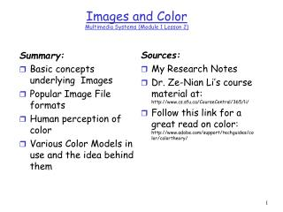 Images and Color Multimedia Systems Module 1 Lesson 2