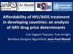 Affordability of HIV