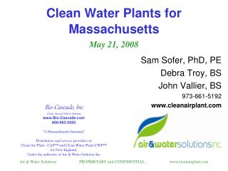 Clean Water Plants for Massachusetts   May 21, 2008