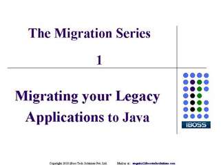 migrating your  legacy applications to java