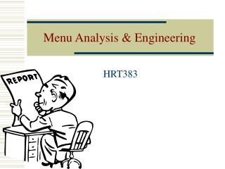 Menu Analysis  Engineering