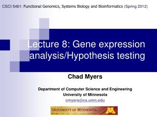 Lecture 8: Gene expression analysis