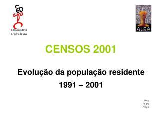 CENSOS 2001   Evolu  o da popula  o residente   1991   2001  Ana Filipa Jorge