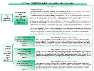LA France CONTEMPORAINE : g ographie et  ducation civique