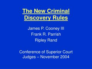 The New Criminal Discovery Rules