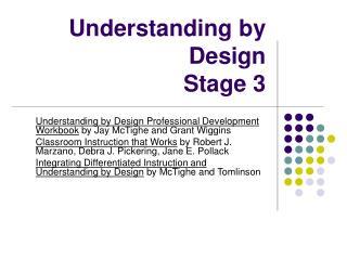 Understanding by Design Stage 3