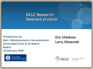 OCLC Research: Selected projects