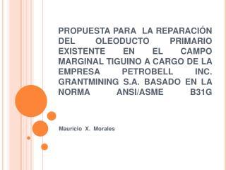PROPUESTA PARA  LA REPARACI N DEL OLEODUCTO PRIMARIO EXISTENTE EN EL CAMPO MARGINAL TIGUINO A CARGO DE LA EMPRESA PETROB