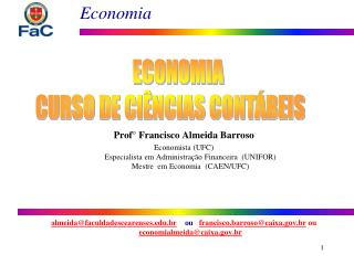 ECONOMIA CURSO DE CI NCIAS CONT BEIS