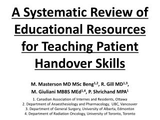 A Systematic Review of Educational Resources   for Teaching Patient Handover Skills