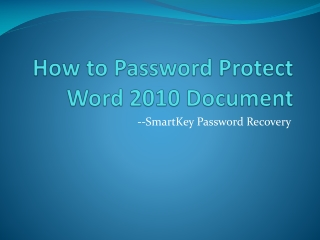 How to Password Protect Word 2010 Document